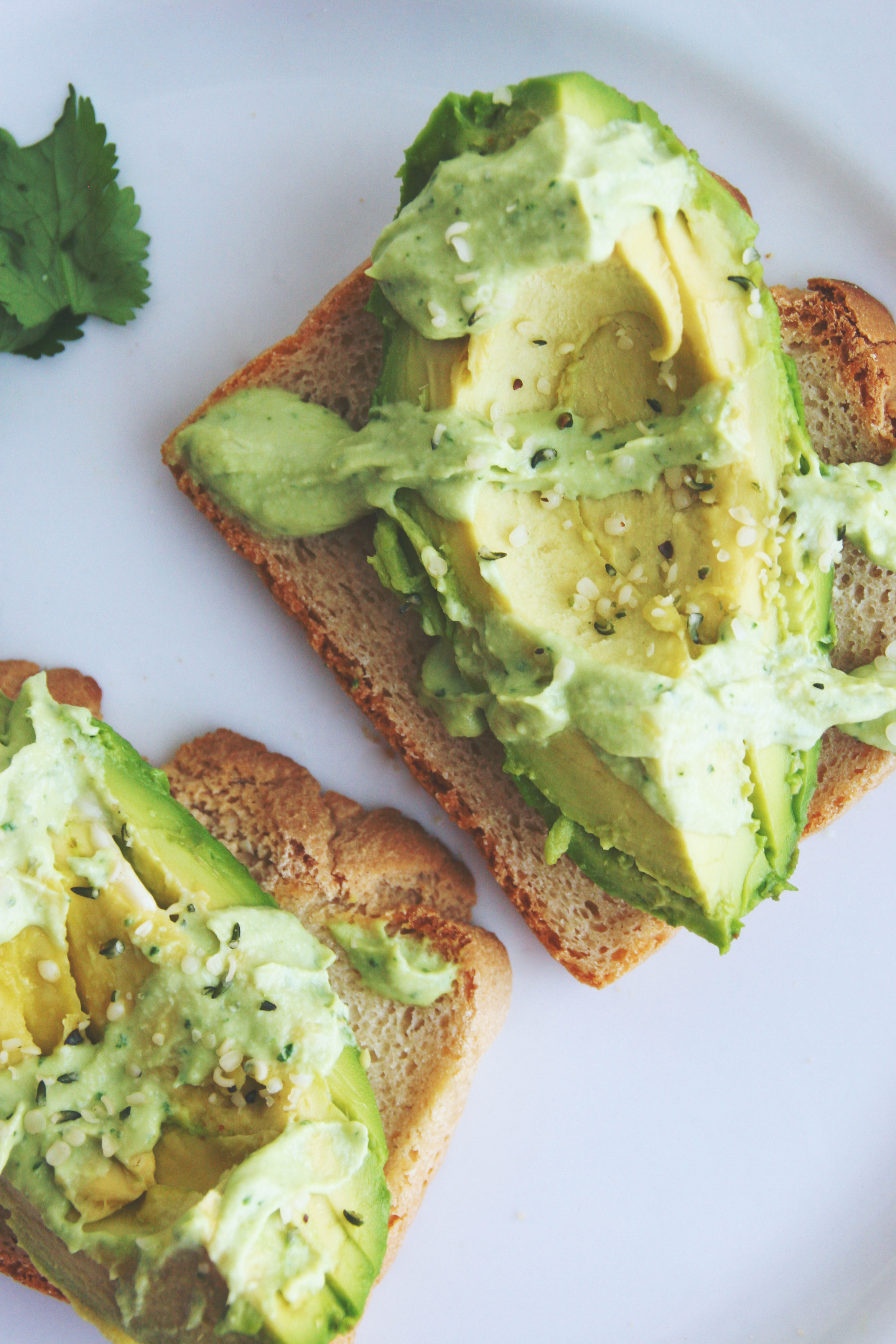 Vegan & Gluten-free Avocado Toast with Cilantro Avocado Tahini Dressing