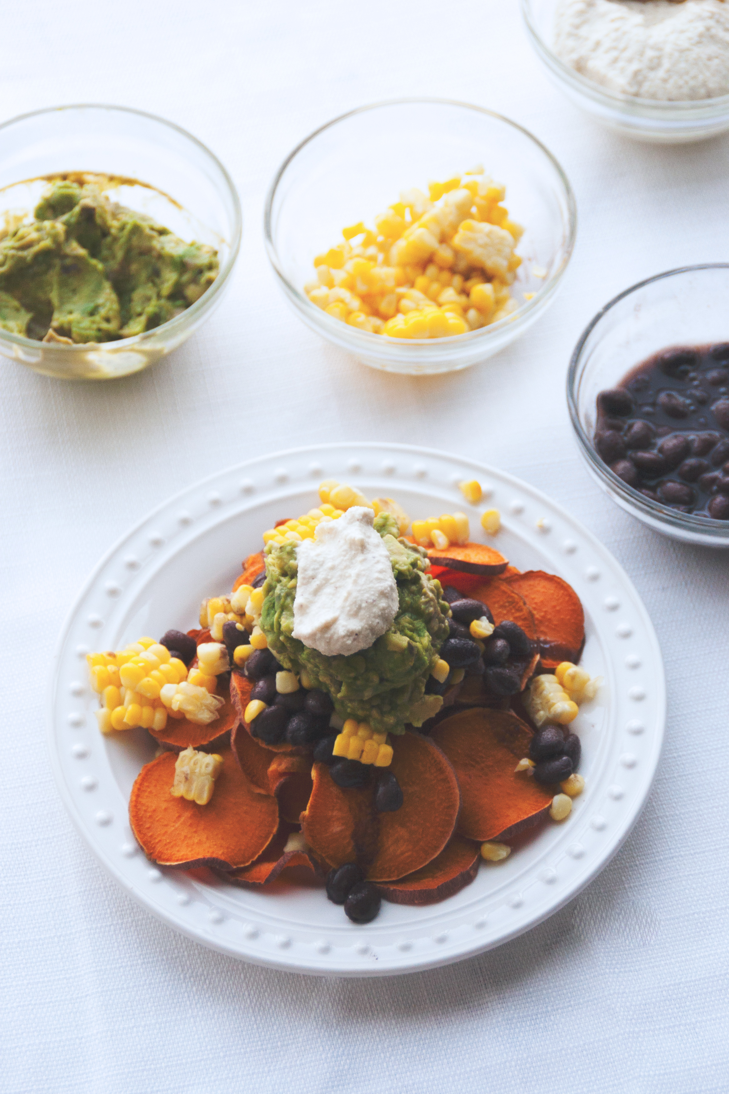 vegan & gluten-free loaded sweet potato nachos with guacamole and cashew sour cream // A Sunshine Mission