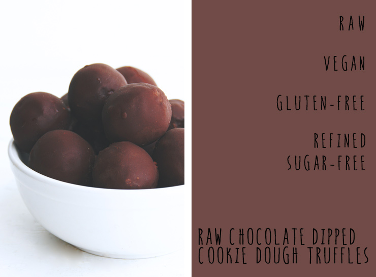 raw chocolate dipped cookie dough truffles // a decadent raw, vegan, gluten-free, & refined sugar free treat