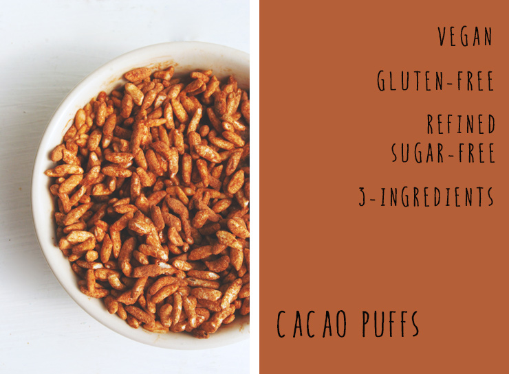 cacao puffs // a healthy, 3-ingredient chocolatey cereal