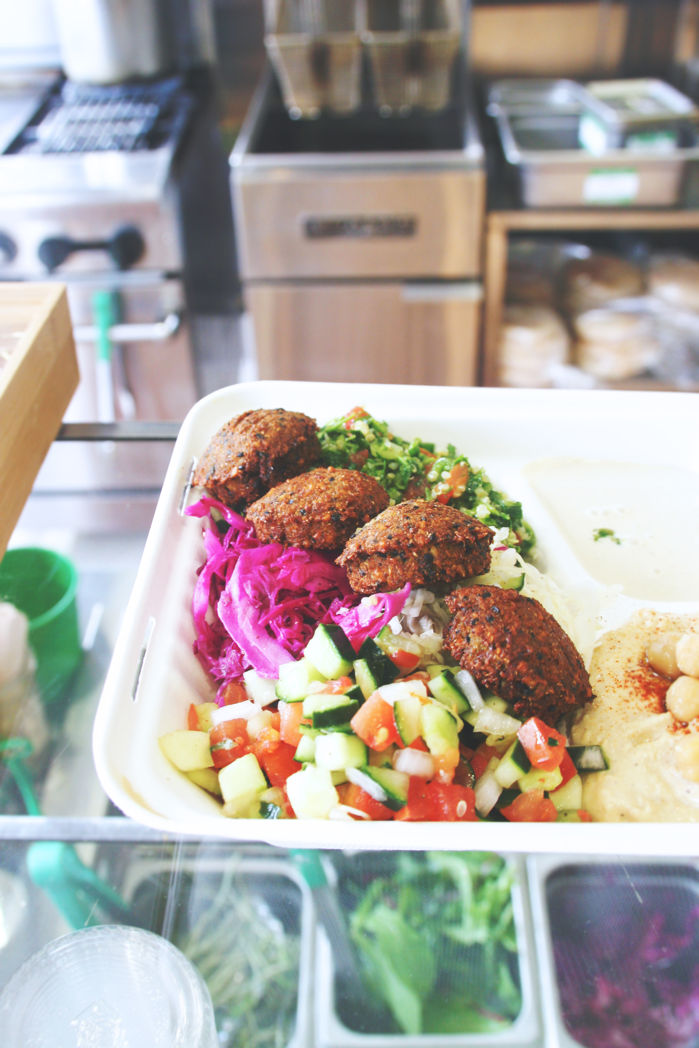 vegan falafel with hummus, tahini, Israeli salad, quinoa tabouli, cabbage // fala bar los angeles