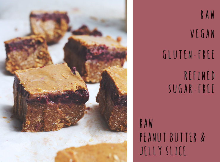 peanut butter & jelly slice // raw, vegan, gluten-free, refined sugar-free