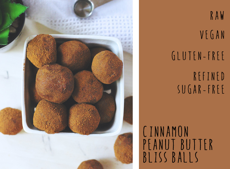 cinnamon peanut butter bliss balls // raw, vegan, gluten-free, oil-free, refined sugar-free