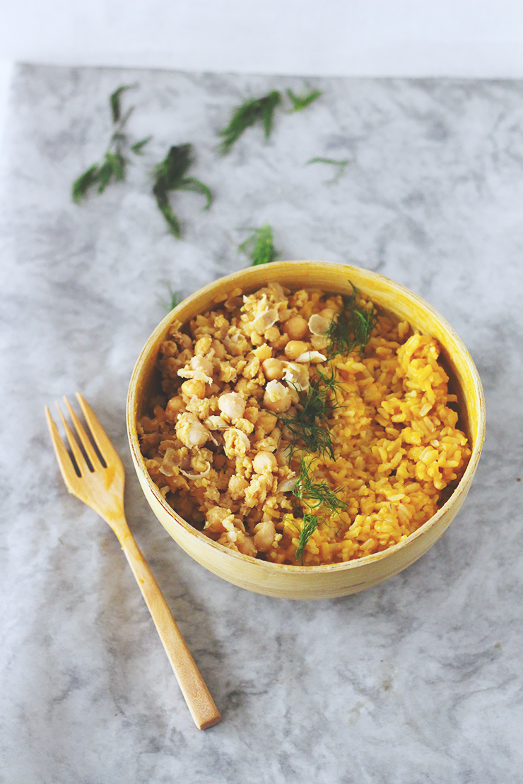 creamy #vegan #glutenfree butternut squash risotto with mashed chickpea salad & dill