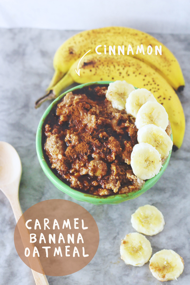 vegan & gluten-free caramel banana oatmeal with cinnamon