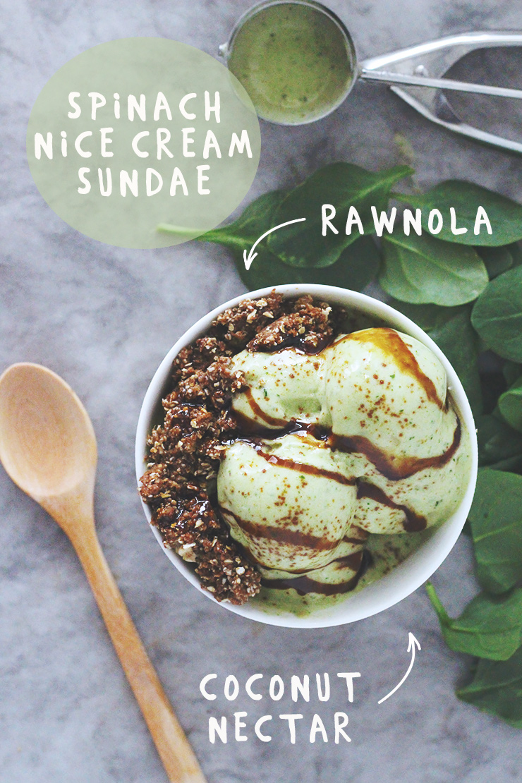 spinach nice cream sundae with rawnola & coconut nectar // raw, vegan, gluten-free, refined sugar-free