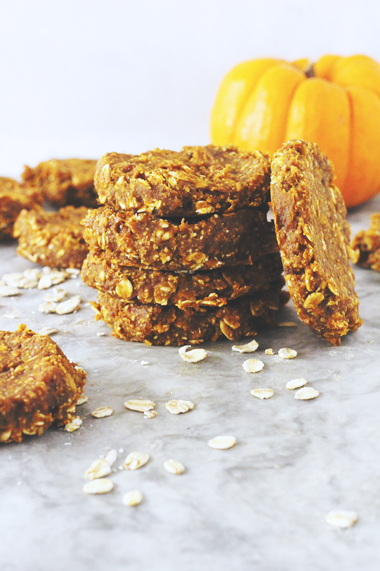 vegan & gluten-free pumpkin oatmeal cookies // made with 7 ingredients in under 30 minutes! oil-free, nut-free & refined sugar-free