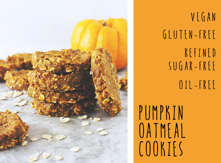 vegan & gluten-free pumpkin oatmeal cookies // made in under 30 minutes with just 7 ingredients! oil-free, refined sugar-free, and nut-free