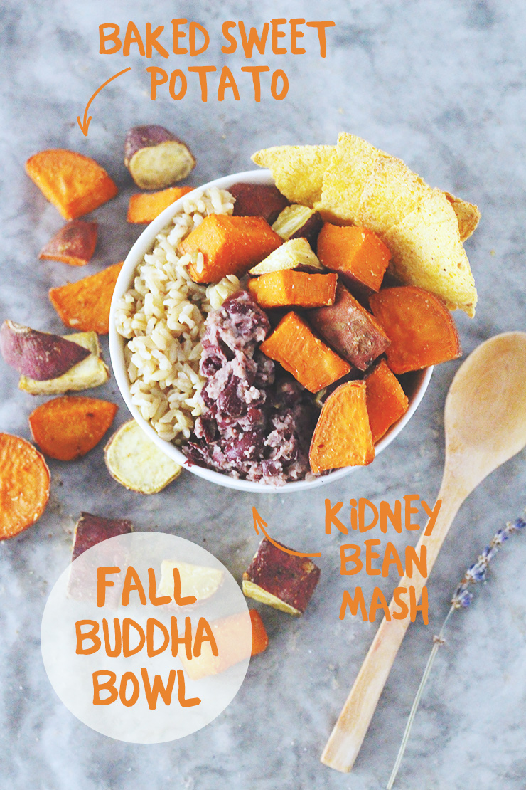 vegan & gluten-free fall buddha bowl // brown rice with baked sweet potato, kidney bean mash, and homemade oil-free tortilla chips