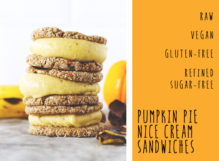 raw vegan pumpkin pie nice cream sandwiches