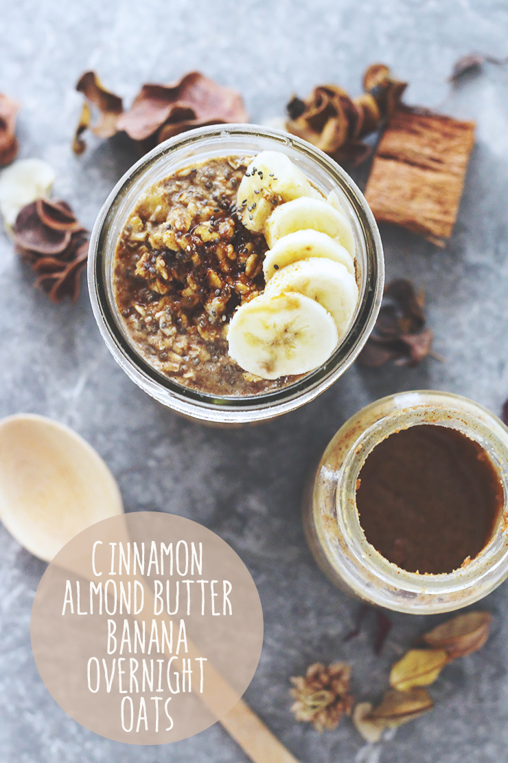 cinnamon almond butter banana overnight oats #vegan #glutenfree #recipe