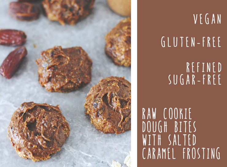 raw cookie dough bites with salted caramel frosting // vegan & gluten ...