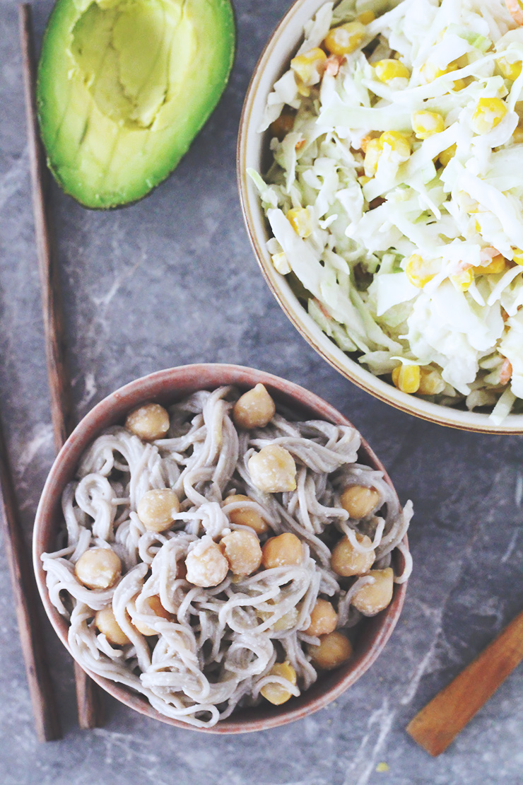 buckwheat ramen noodles with chickpeas & garlic tahini sauce + vegan coleslaw #vegan #recipe