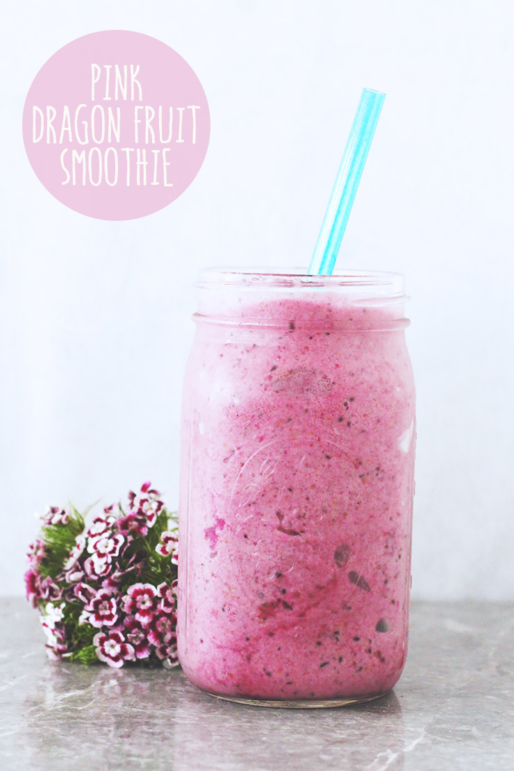3-ingredient pink dragon fruit smoothie #vegan #glutenfree #recipe