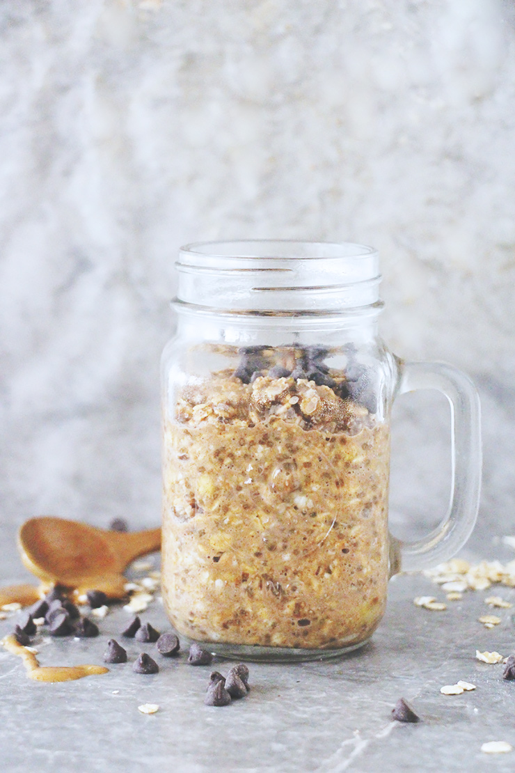 peanut butter chocolate chip overnight oats #vegan #glutenfree