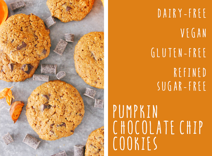 pumpkin chocolate chip cookies // vegan, gluten-free, refined sugar-free #vegan #cookies