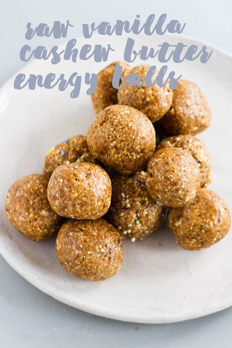 raw vanilla cashew butter energy balls