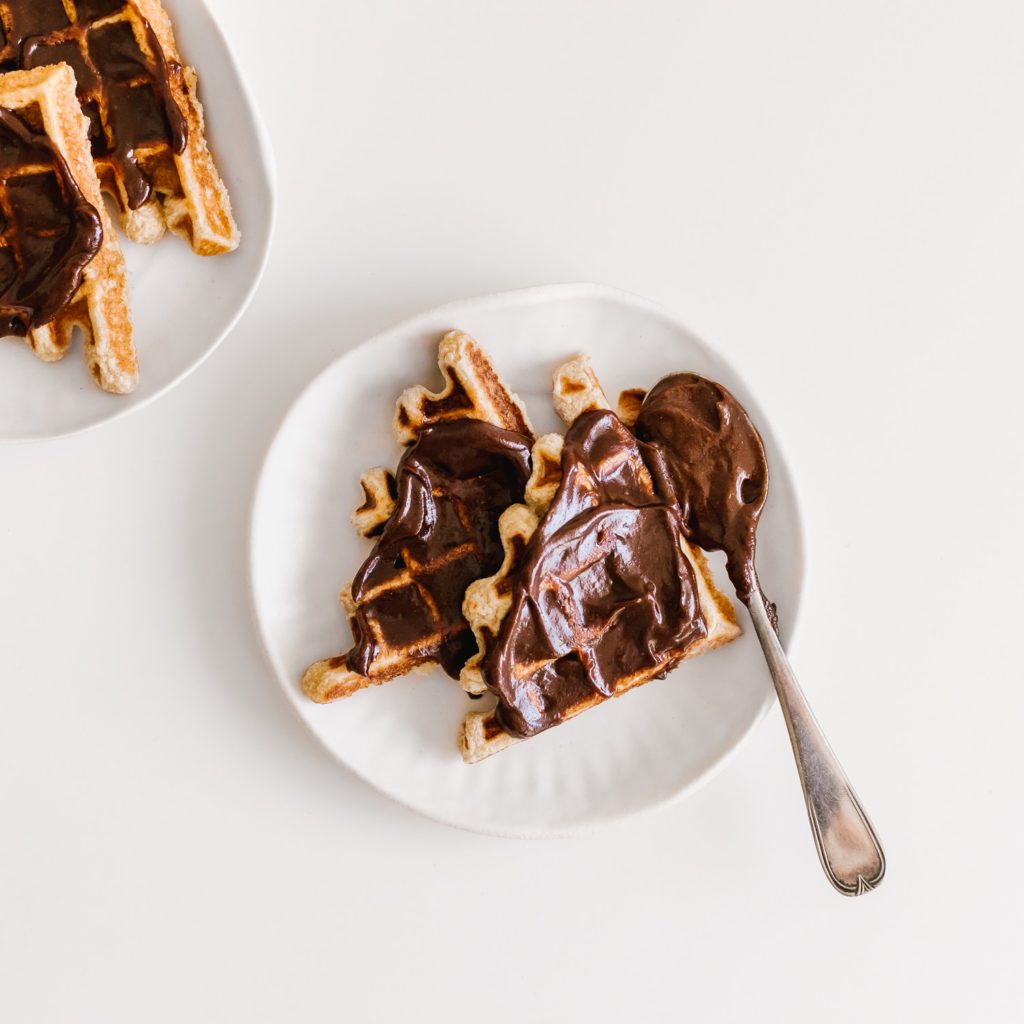 vegan nutella sourdough waffles #vegan